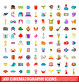 100 cinematography icons set cartoon style vector image vector image