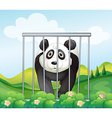 A panda inside the cage vector image vector image