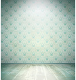 Aged room with floral wallpaper vector image