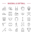 Baseball softball sport game line icons vector image vector image