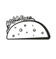 black isolated outline taco icon vector image