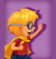 boy wearing superhero with stranglehold position vector image vector image