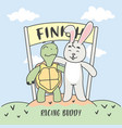 buddy racing turtle and rabbit in finish line vector image