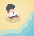 Businessman relaxing on the beach vector image vector image