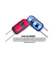 car accident collision top angle view over white vector image vector image