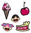 cartoon drawing of isolated objectsice creamcherry vector image vector image