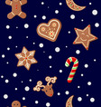 christmas cookies seamless pattern vector image