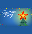 christmas party banner with shining star and vector image