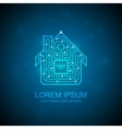 Circuit board house icon Home automation concept vector image