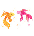 Collection Fish Watercolor Isolated on a White vector image