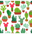 colorful seamless pattern funny cactus and vector image