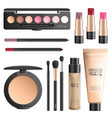cosmetics and makeup tools realistic set vector image