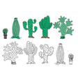 cute hand drawn cactuse in the pots vector image vector image