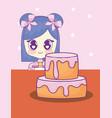 cute kawaii girl with cake birthday card vector image vector image