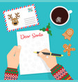 dear santa writing letter to santa claus vector image vector image