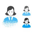 decomposed dotted halftone clerk lady icon with vector image vector image