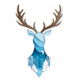 double exposure layered paper cut wild deer vector image