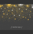 falling abstract gold stars with light effects vector image vector image