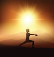 female in yoga position against sunset landscape vector image vector image