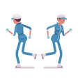 female janitor running rear and front view vector image vector image