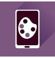 Flat icon with long shadow mobile phone palette vector image vector image