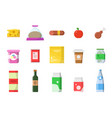 food market grocery basket with products sausage vector image