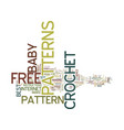 free baby crochet patterns text background word vector image vector image