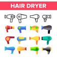 hair dryer appliance color icons set vector image vector image