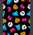 halloween seamless pattern with pumpkins ghost vector image