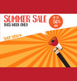 hand holding megaphone to speech - summer sale vector image vector image