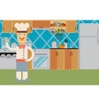 happy chef at the kitchen interior flat vector image