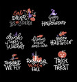 Happy halloween overlays lettering labels design