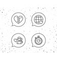 heart timer divorce and love dating icons vector image vector image