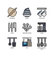 kitchen and cookware icons vector image vector image