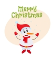 Merry Christmas greeting card template with little vector image