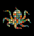 octopus nautical color silhouette animal vector image vector image