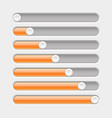 orange and gray slider bars vector image vector image