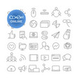 outline icon set pictogram set online vector image vector image