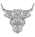 Patterned head of the bull in zentangle style vector image vector image