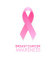 realistic pink ribbon closeup isolated on white vector image vector image