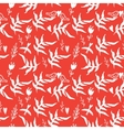 Red seamless pattern with weed flowers and birds vector image vector image