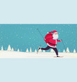 santa claus skiing with bag gifts on snowy vector image vector image