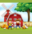 scene with two farmers and animals vector image vector image