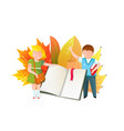 schoolkids with open book flat vector image