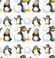 Seamless penguins and snow balls vector image vector image