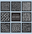set hand drawn textures water surface vector image