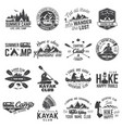 set of canoe hiking kayak and camping club badge vector image vector image