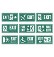 set of emergensy exit signs fire exit labels vector image vector image