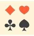 Set of playing card suits flat icon logo isolated vector image vector image
