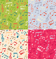 Set of seamless music patterns vector image